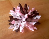 Brown and Pink Superstar Korker Bow