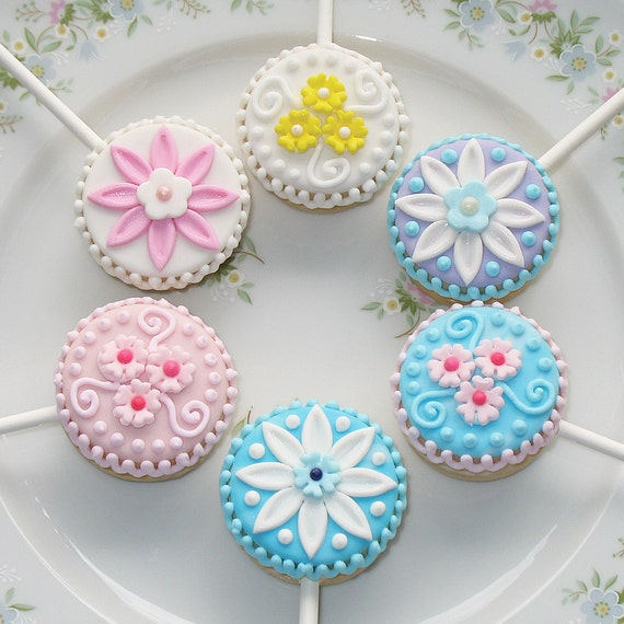 Petite Flower Sandwich Cookie Pops - 1 dozen