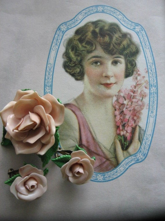 Reserve for Diane 9919  Vintage Celluloid Flower Pin and Earrings Set...pink roses..1930...spring is here!