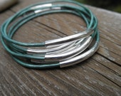 Set of 7 - Metallic Light Teal Leather Bangles with Silver Tube Beads