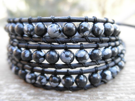CLEARANCE - Triple Snowflake Obsidian and Leather Wrap Bracelet