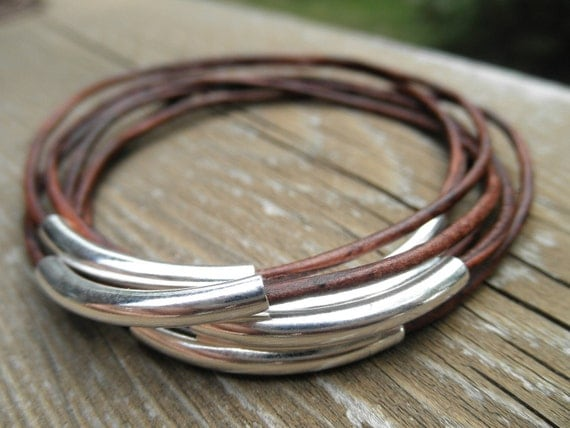 Set of 7 - Natural Brown Leather Bangles with Silver Tube Beads