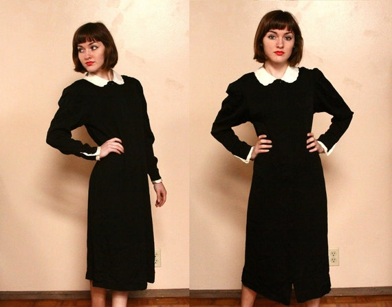 Vintage 70s 40s Style Black and Ivory Daydress ( s - m )