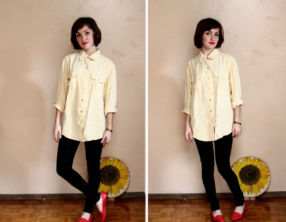 Vintage Pale Yellow Oversized Silk Blouse // Pastel Long Sleeve Button Up ( xs - m )