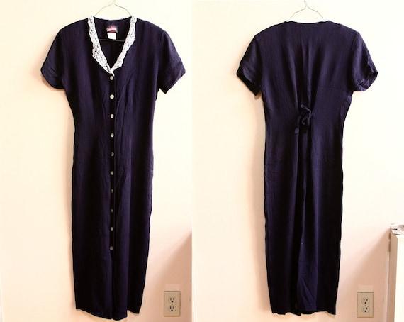 1980s Crochet Collar Navy Button Front Dress // Nautical Maxi Dress ( m - l )