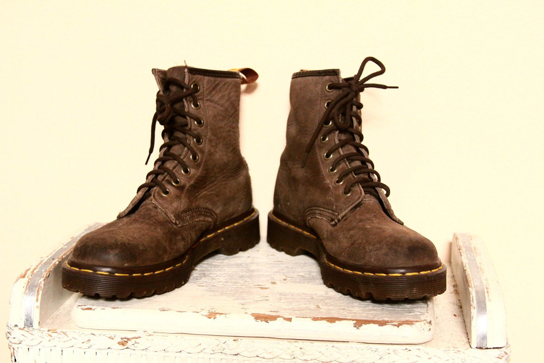 vintage brown distressed leather dr martens combat boots