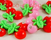 35mm 12/24/50 pieces Large Rhinestone Cherry Bling FLAT BACK RESINS Cabochons