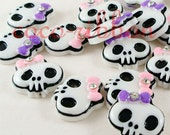 30mm 12, 24 or 50 pieces Rhinestone Bow Skull Bling Flatback Resin Cabochons