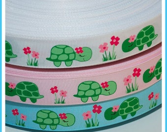 10 Yards 7/8 inch 22mm Spring Sweet Flower Turtle Grosgrain Ribbon