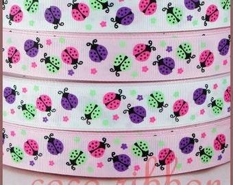 10 yd 7/8 22mm White / Pink Spring Flower Ladybug Grosgrain Ribbon
