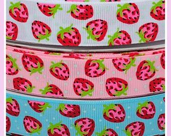10 Yards 7/8 22mm  Sweet Polka Dot Strawberry Grosgrain Ribbon - White / Blue / Pink