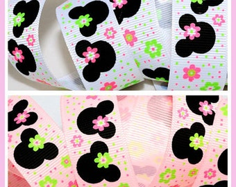"5/10/25 yards 7/8"" Pink / White Minnie Mouse Daisy Grosgrain Ribbon"