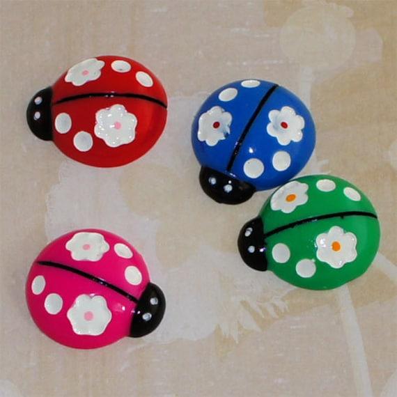 12/24/50 pc 25mm Flower Polka Dot Ladybug Bling Flatback Resin Cabochon