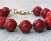 Chunky Red Bracelet, Apple Coral and Light Green Peridot, Gold, Christmas colors, holiday jewelry