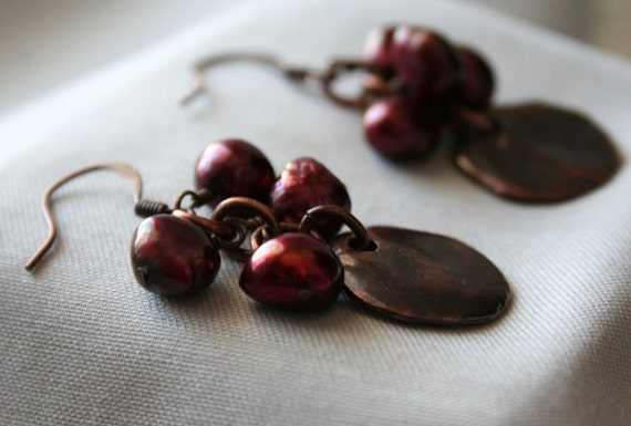 Reserved for Efrohman- Sonja Earrings- Copper discs with merlot colored freshwater pearls