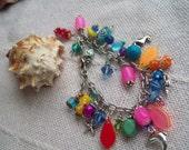 Bright colored ocean charm bracelet