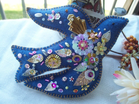 Blue Bird of Happiness- sequined and beaded deluxe version