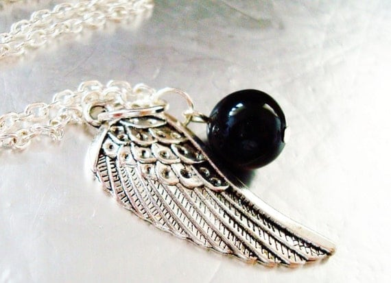 ORIGINAL One Winged Angel- Sephiroth Necklace, Angel Wing, Black Materia