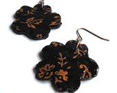 Copper & Black Floral Earrings - Womens, Flowers, Mixed Media, Paper, Clay, Paper Anniversary Gift, Ready to Ship, Sale - Now Marked 40% OFF