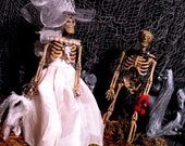 Fall Wedding Decoration - Shabby Chic Skeletons - Bride and Groom - Here Comes the Boo, and I Give You My Heart.