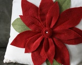 Red Pointsettia Christmas Pillow Cover