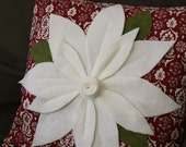 White Poinstsettia Christmas Pillow Cover