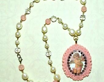 Sale Cherub Cameo Pendant Necklace