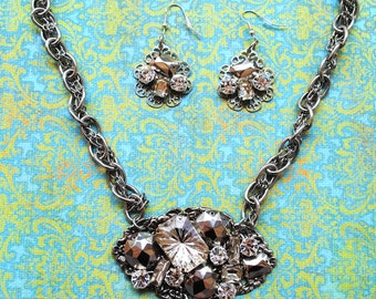 Silver Crystal Champagne Necklace and Earring Set