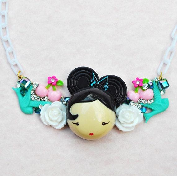 Sale Harajuku Girl Bib Pendant Necklace Swarovski Crystal