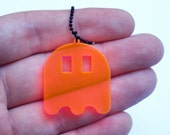 Pacman Ghost necklace - various colors plastic