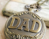 Love You Dad. Antique Gold Pocket Watch with 'DAD' Carving (PW-07)