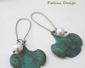Ginkgo Leaves Earrings. Swarovski  Pearl. Nature. Botanic Garden. Gift For Her (VER-21)