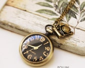 Time for Photography. Antique Gold Pocket Watch Necklace Decorated with Vintage Camera (PW-33)