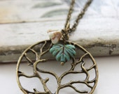 Tree of Life. Vintage Long Neckalce with Czech Glass Maple Leaf and Flower (VNL-04)