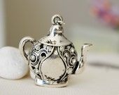 Have a Tea Necklace. Antique Silver Teapot  with Rhinestones (VNL-19)