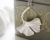 Silver Ginkgo Leaf Necklace (SNL-05)