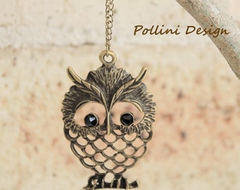 Wise Owl on the Branch. Long Necklace with Howlite (VNL-41)