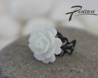White Rose on Antique Style Black Filigree Base (RG-08)