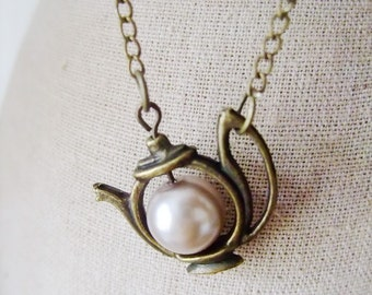 Have a Tea Necklace. Antique Teapot  with Pearl. Pastel (VNL-17)