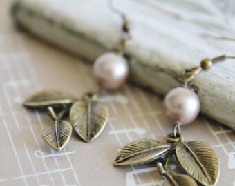 Vintage Style Leaf Earrings. Swarovski Pearls. Garden. Nature. Botanic. Gift For Her (VER-07)