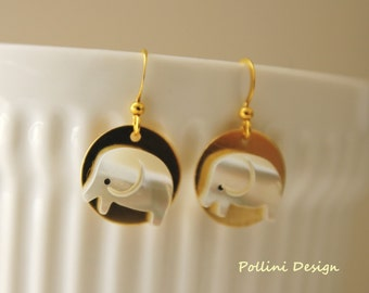 Cute Little Lucky Thing. White Elephant Mother of Pearl Earrings (VER-63)