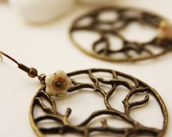 Blossom Tree Earrings. Vintage Green (VER-61)