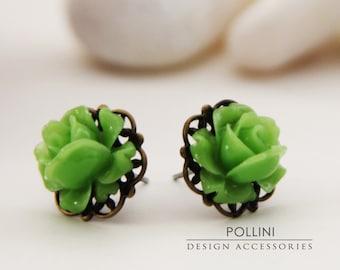 Vintage Petite Rose Post Earrings. Mint Green. Garden. Botanic. Bridesmaid Gift (VER-20)