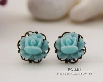 Vintage Petite Rose Post Earrings. Baby Blue (VER-27)
