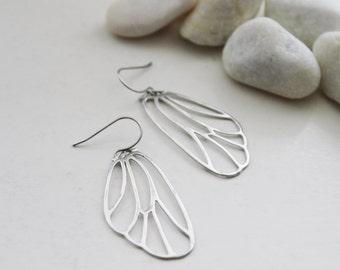 Silver Butterfly Wings Earrings. Simple Elegant. Gift For Her (SER-17)