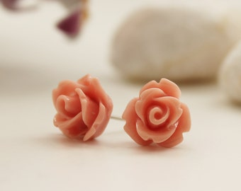Rose Post Earrings. Soft Pink. Garden Wedding. Bridesmaid Gift. Gift For Her (VER-14)