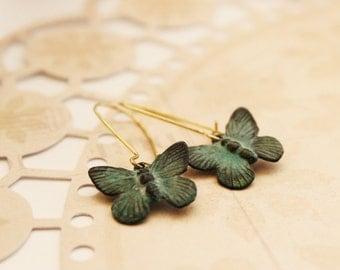 Butterfly Earrings. Verdigris Paitna. Garden. Botanic. Gift For Her (VER-11)