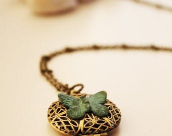 Butterfly Filigree Locket Necklace. Verdigris Patina (LN-01)