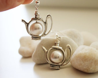 Have a Tea Earrings. Silver Teapot  with Swarovski Pearl. Snow White. Gift For Her (SER-13)