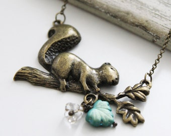My Little Squirrel. Vintage Long Neckalce with Czech Glass Maple Leaf and Flower (VNL-29)